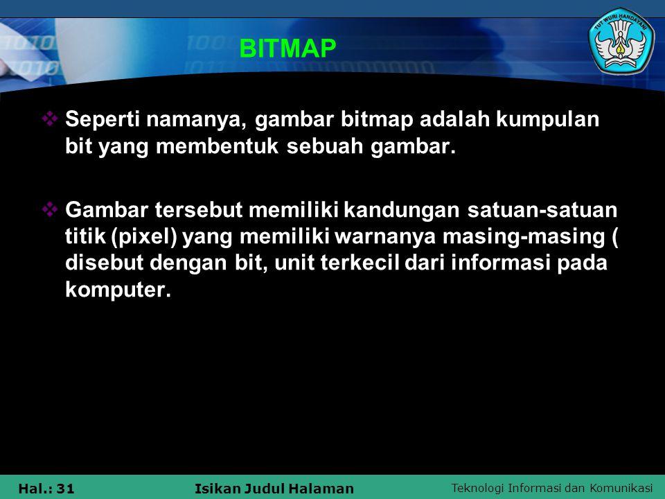 BITMAP Seperti namanya, gambar bitmap adalah kumpulan bit yang membentuk sebuah gambar.
