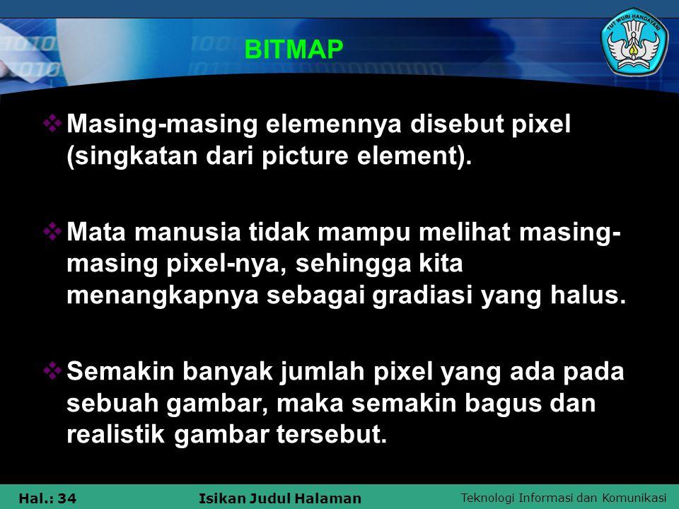BITMAP Masing-masing elemennya disebut pixel (singkatan dari picture element).