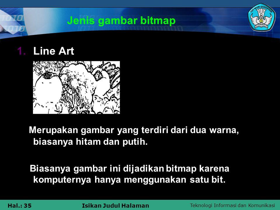 Jenis gambar bitmap Line Art
