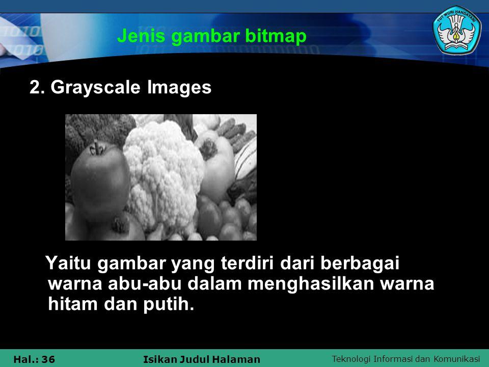 Jenis gambar bitmap 2. Grayscale Images.