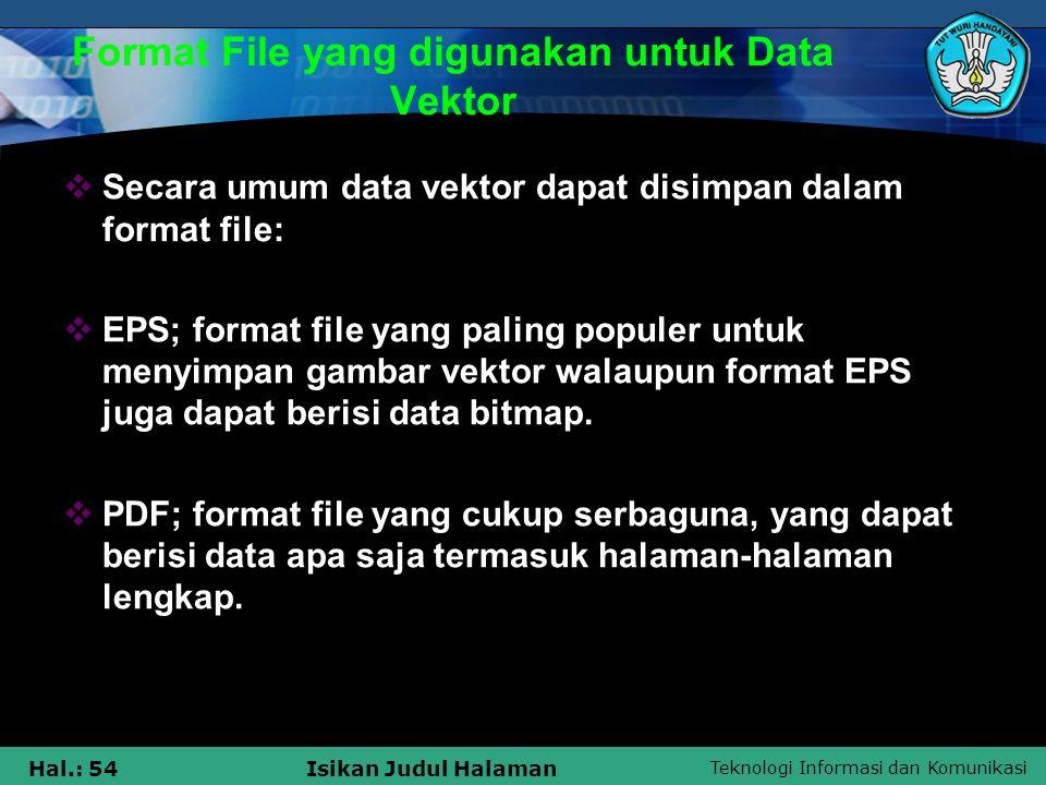 Format File yang digunakan untuk Data Vektor