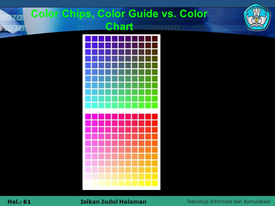 Color Chips, Color Guide vs. Color Chart