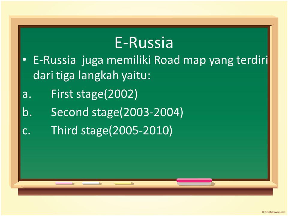 E-Russia E-Russia juga memiliki Road map yang terdiri dari tiga langkah yaitu: a. First stage(2002)