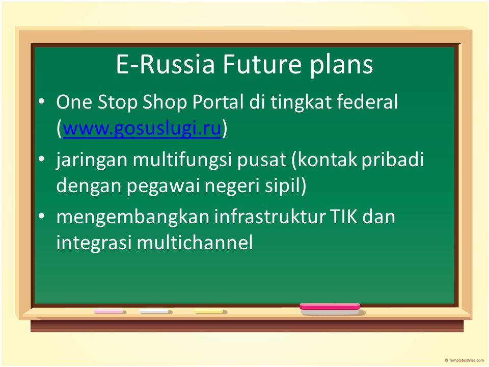 E-Russia Future plans One Stop Shop Portal di tingkat federal (www.gosuslugi.ru)
