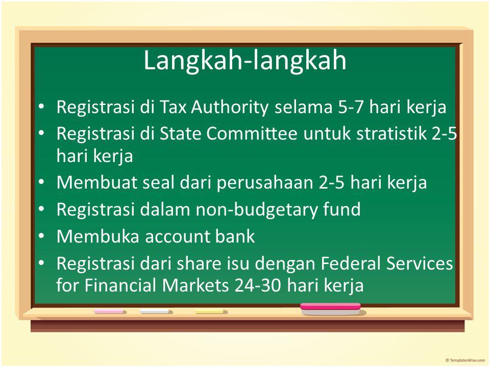 Langkah-langkah Registrasi di Tax Authority selama 5-7 hari kerja