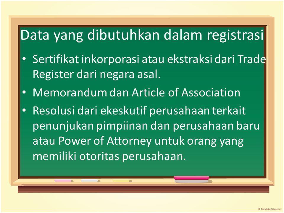 Data yang dibutuhkan dalam registrasi