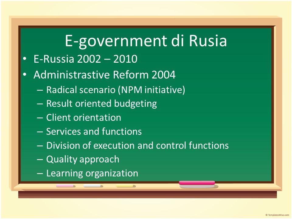 E-government di Rusia E-Russia 2002 – 2010 Administrastive Reform 2004