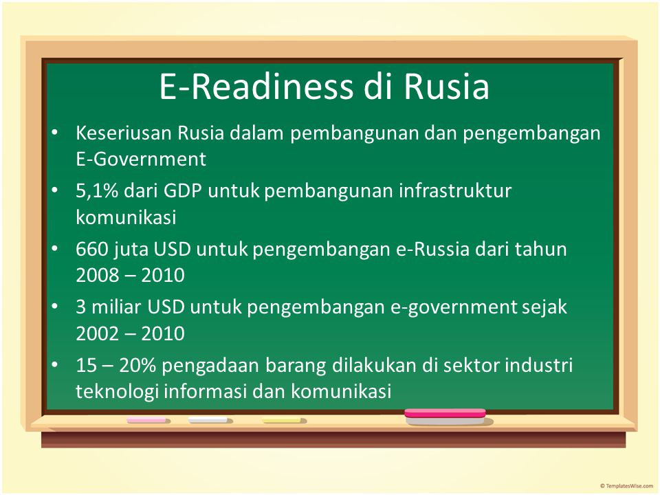 E-Readiness di Rusia Keseriusan Rusia dalam pembangunan dan pengembangan E-Government. 5,1% dari GDP untuk pembangunan infrastruktur komunikasi.
