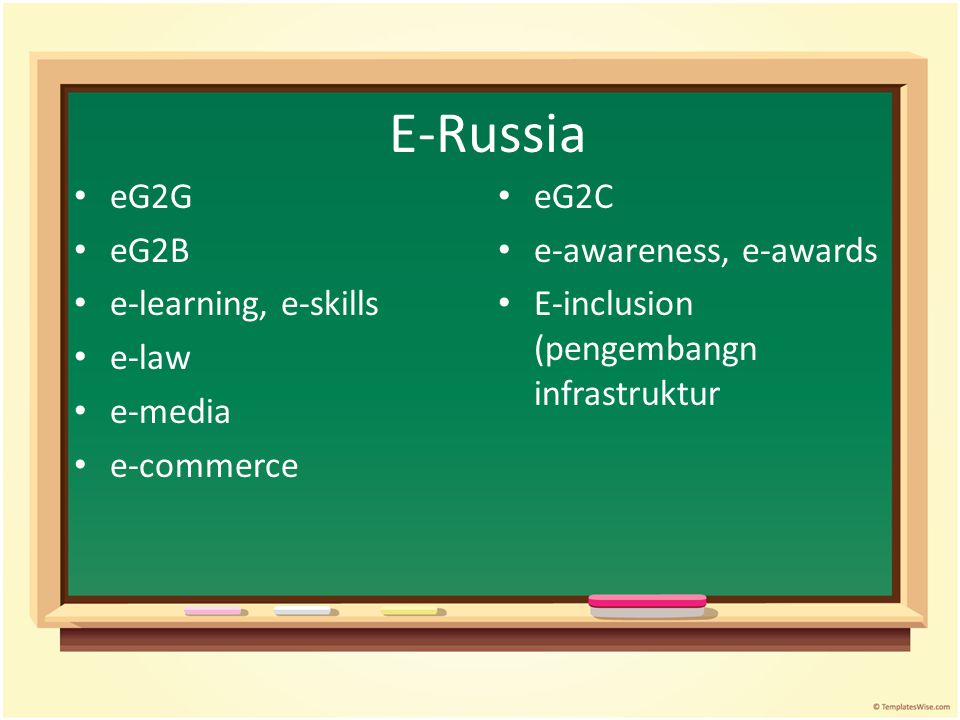 E-Russia eG2G eG2B e-learning, e-skills e-law e-media e-commerce eG2C