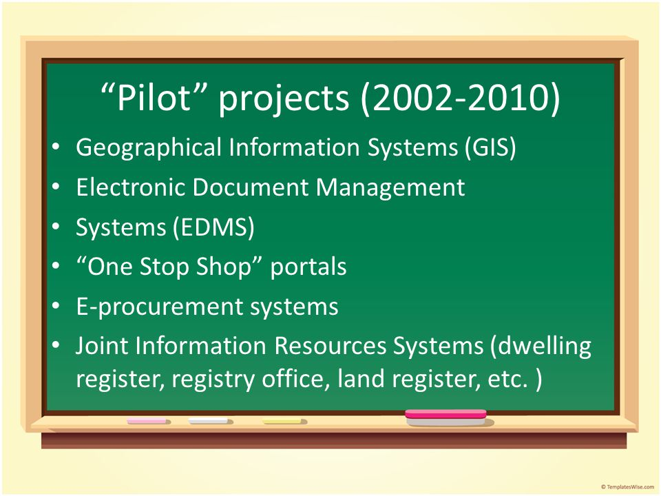 Pilot projects (2002-2010) Geographical Information Systems (GIS)