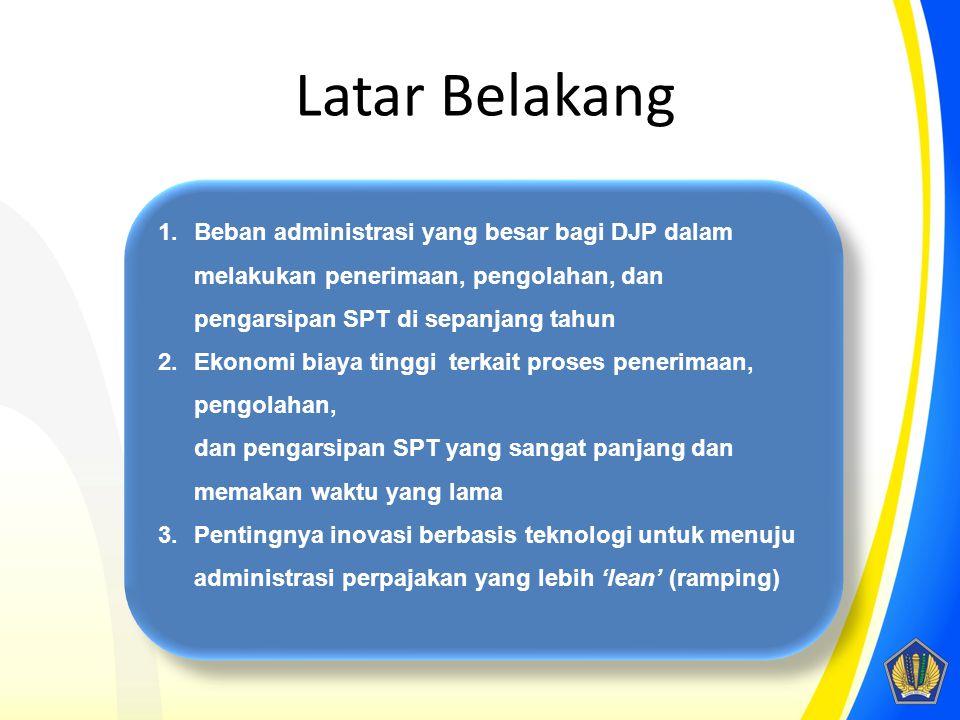 Latar Belakang Beban administrasi yang besar bagi DJP dalam melakukan penerimaan, pengolahan, dan pengarsipan SPT di sepanjang tahun.