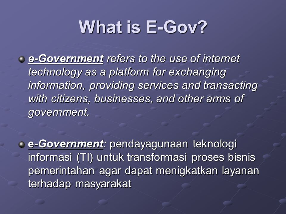 What is E-Gov