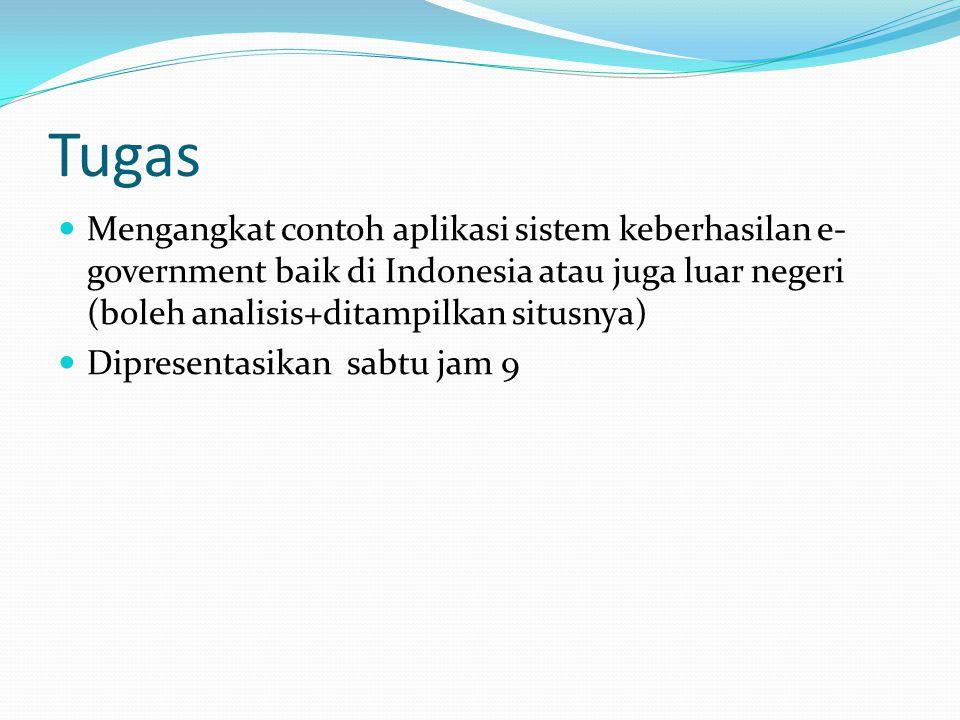 Tugas Mengangkat contoh aplikasi sistem keberhasilan e-government baik di Indonesia atau juga luar negeri (boleh analisis+ditampilkan situsnya)