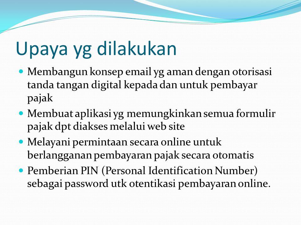 Upaya yg dilakukan Membangun konsep email yg aman dengan otorisasi tanda tangan digital kepada dan untuk pembayar pajak.