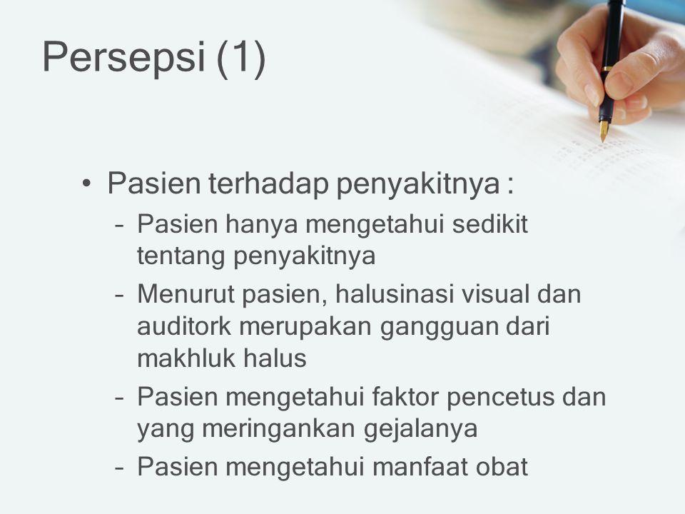 Persepsi (1) Pasien terhadap penyakitnya :