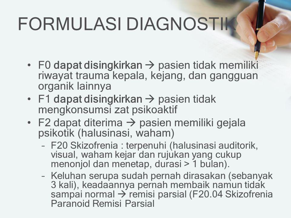 FORMULASI DIAGNOSTIK F0 dapat disingkirkan  pasien tidak memiliki riwayat trauma kepala, kejang, dan gangguan organik lainnya.