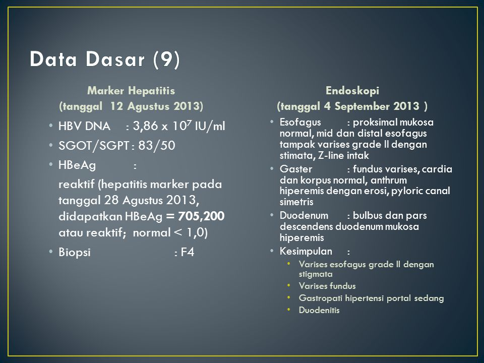 Data Dasar (9) HBV DNA : 3,86 x 107 IU/ml SGOT/SGPT : 83/50 HBeAg :