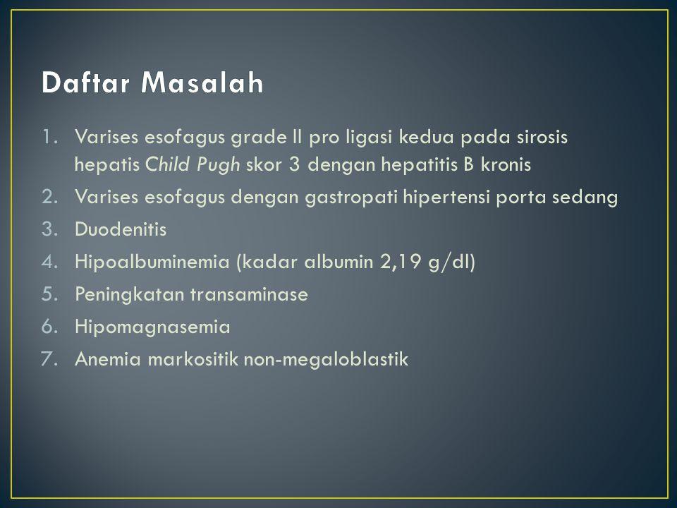 Daftar Masalah Varises esofagus grade II pro ligasi kedua pada sirosis hepatis Child Pugh skor 3 dengan hepatitis B kronis.