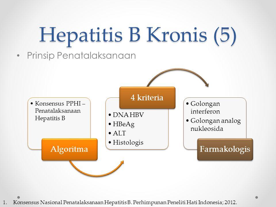 Hepatitis B Kronis (5) Prinsip Penatalaksanaan Algoritma 4 kriteria