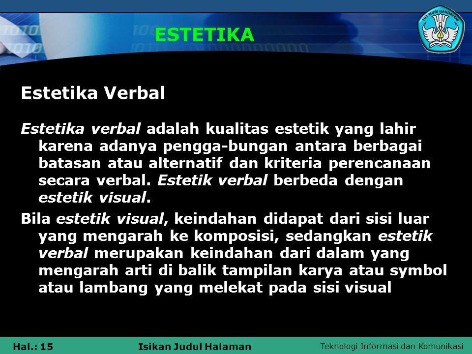ESTETIKA Estetika Verbal
