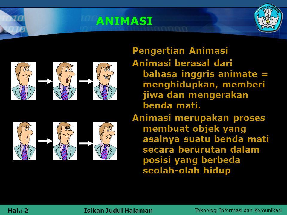 ANIMASI Pengertian Animasi