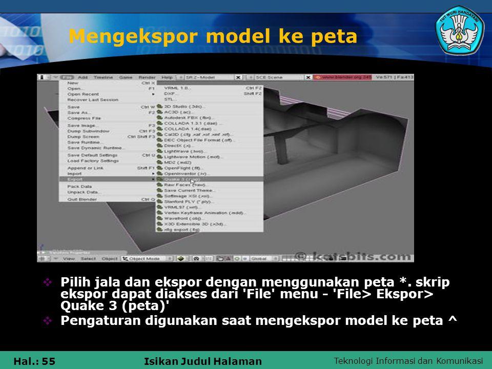 Mengekspor model ke peta
