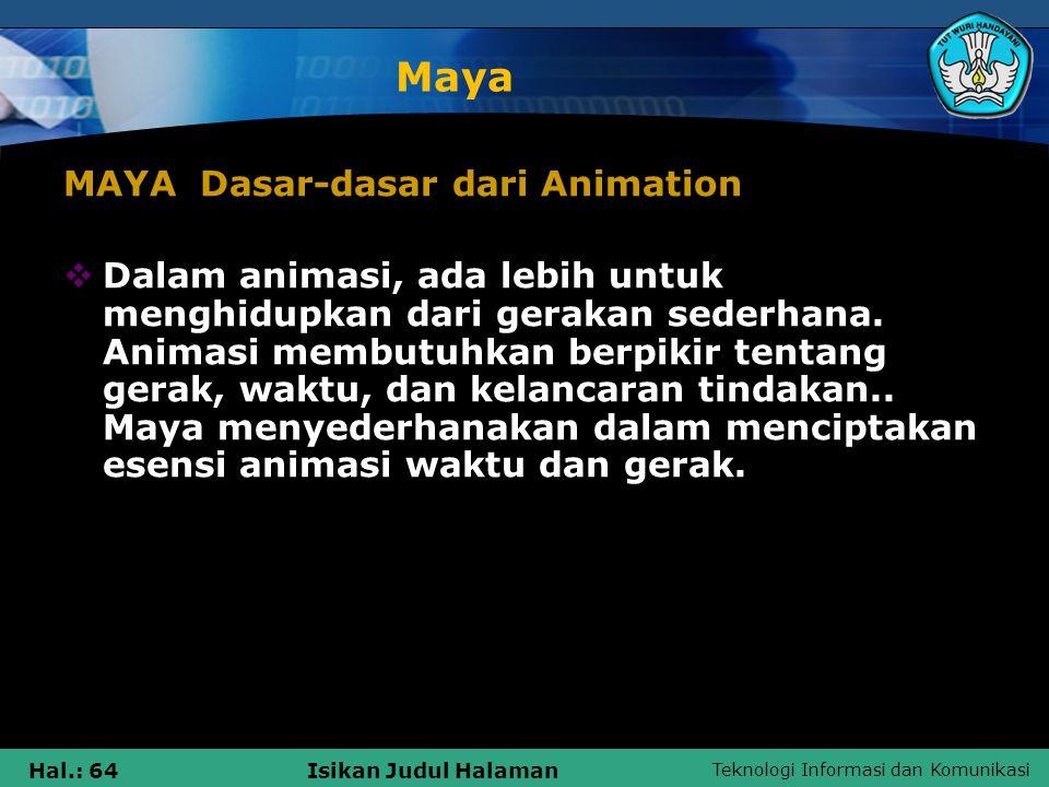 Maya MAYA Dasar-dasar dari Animation