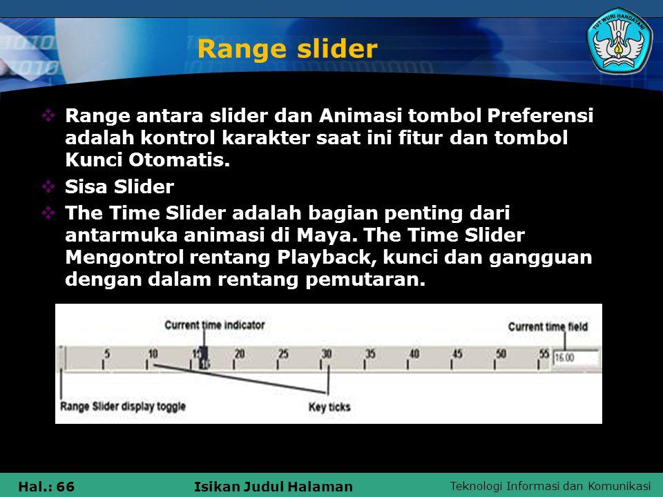 Range slider Range antara slider dan Animasi tombol Preferensi adalah kontrol karakter saat ini fitur dan tombol Kunci Otomatis.