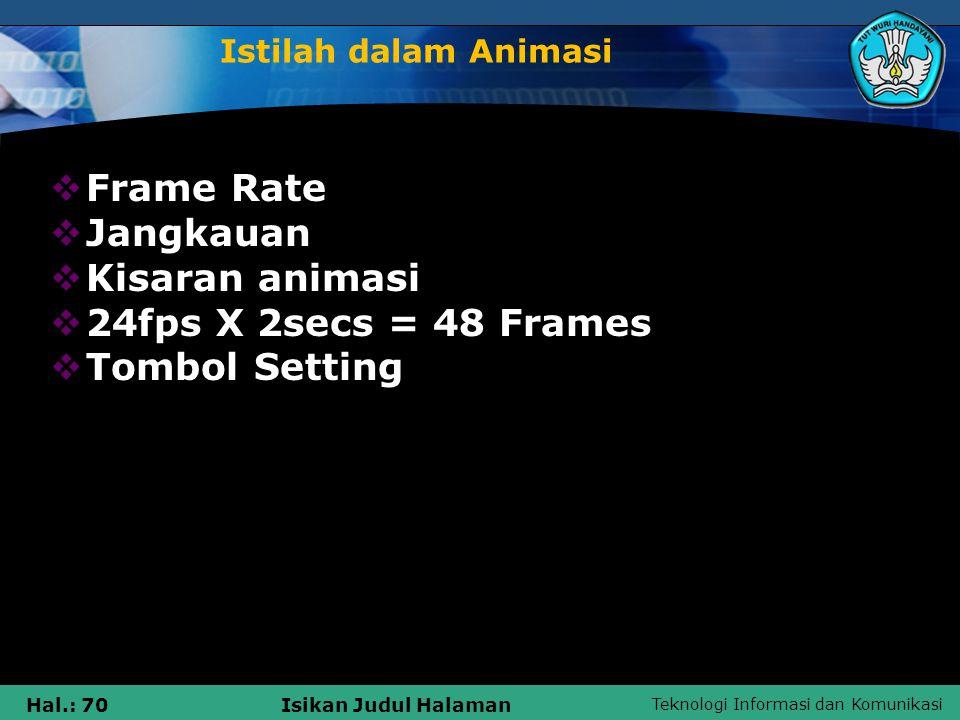 Frame Rate Jangkauan Kisaran animasi 24fps X 2secs = 48 Frames