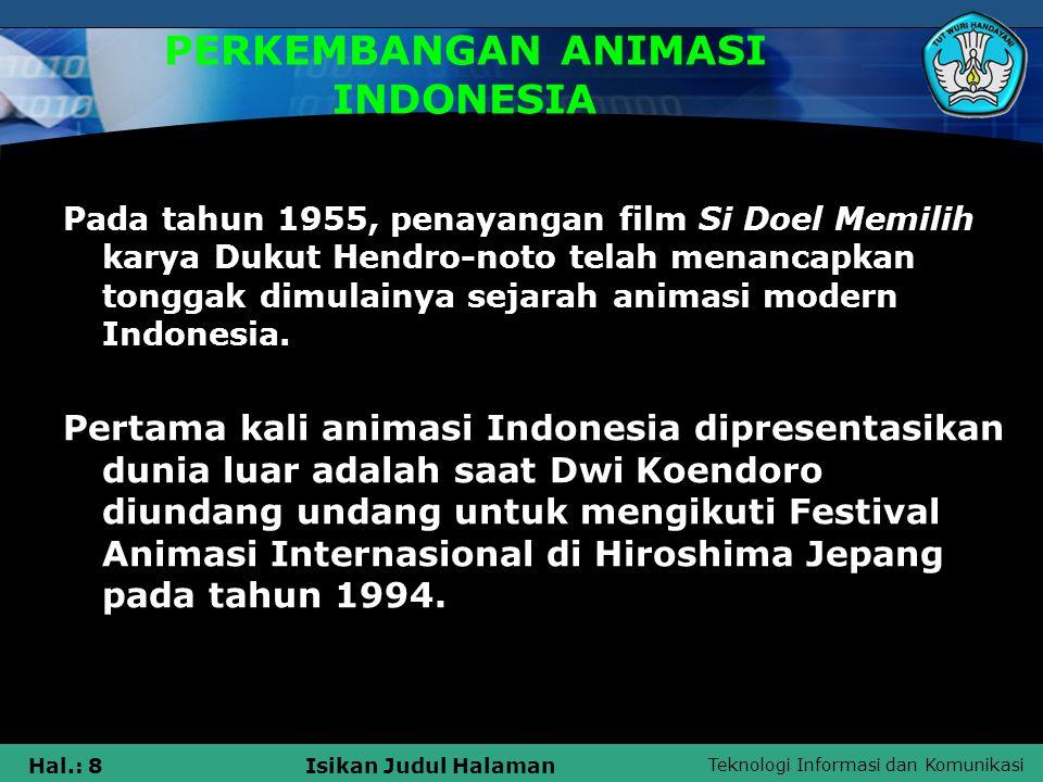 PERKEMBANGAN ANIMASI INDONESIA