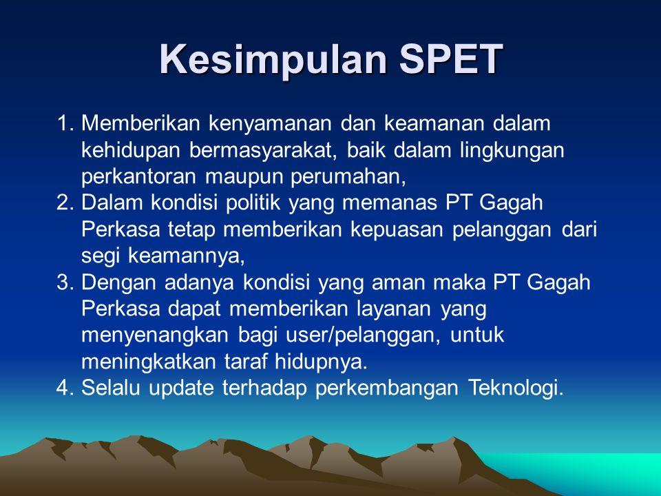Kesimpulan SPET Memberikan kenyamanan dan keamanan dalam kehidupan bermasyarakat, baik dalam lingkungan perkantoran maupun perumahan,