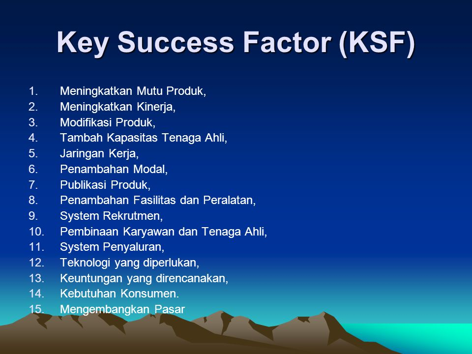 Key Success Factor (KSF)