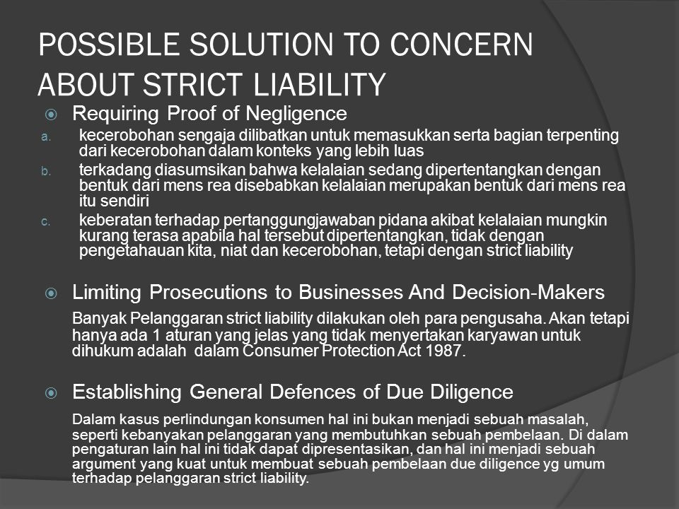 POSSIBLE SOLUTION TO CONCERN ABOUT STRICT LIABILITY