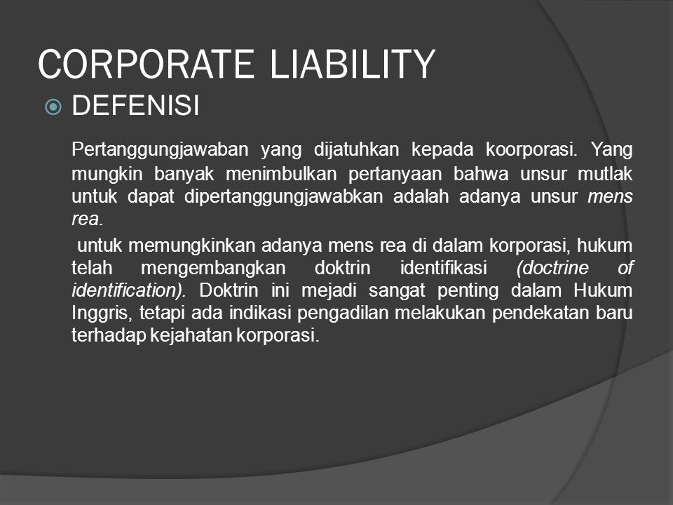 CORPORATE LIABILITY DEFENISI