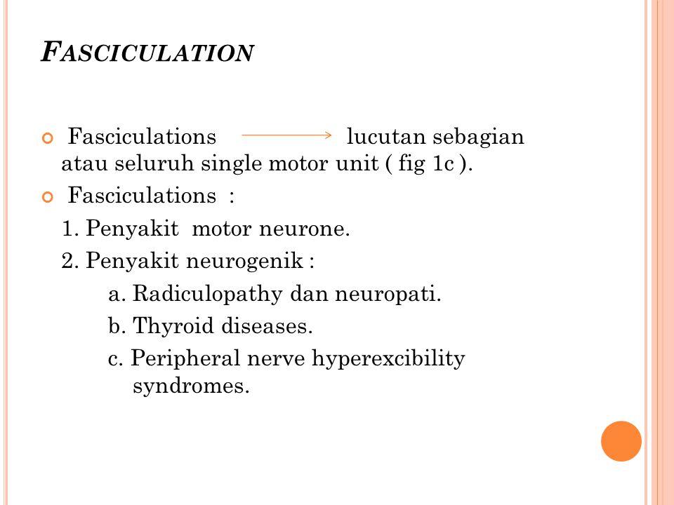 Fasciculation Fasciculations lucutan sebagian atau seluruh single motor unit ( fig 1c ).