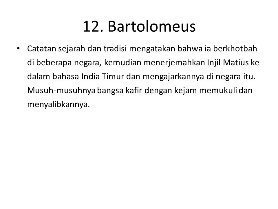 12. Bartolomeus