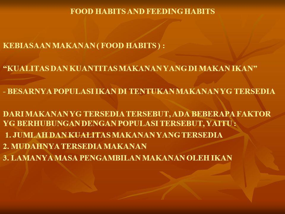 FOOD HABITS AND FEEDING HABITS