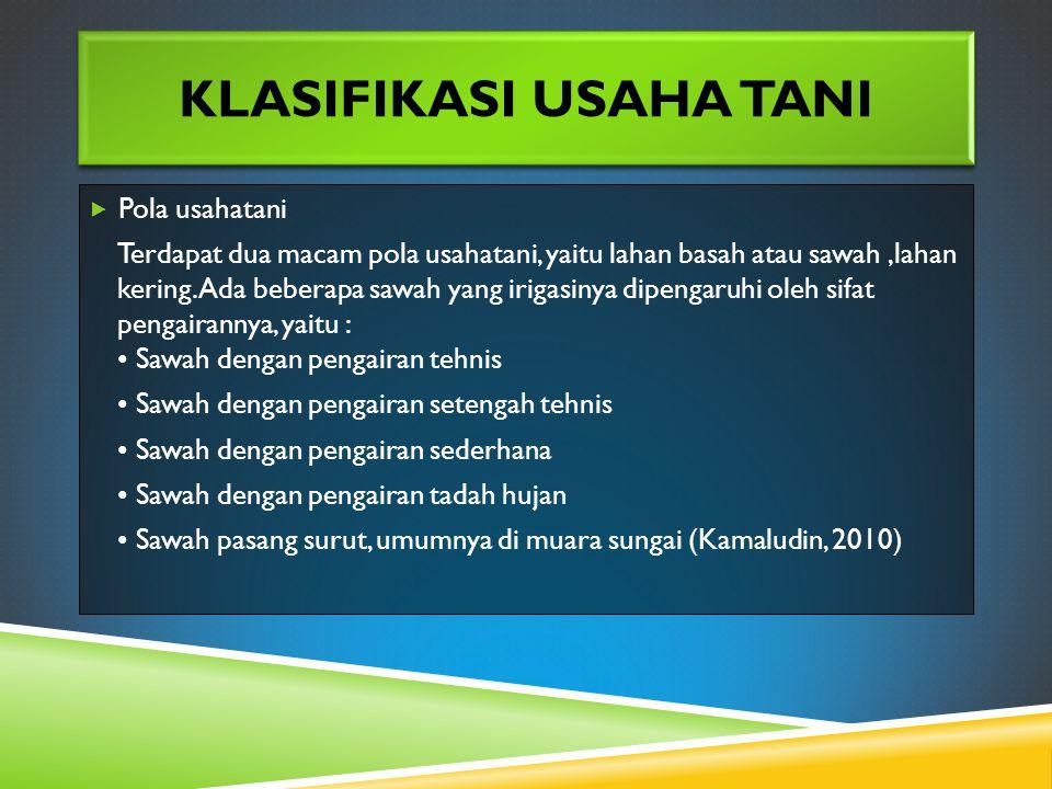 Klasifikasi Usaha Tani