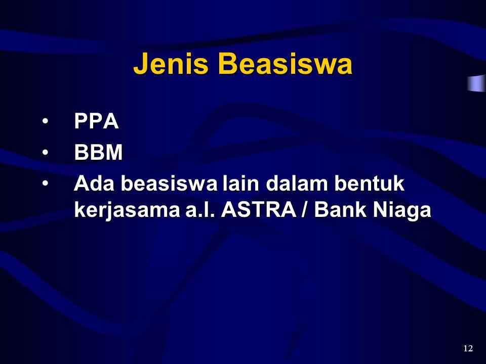 Jenis Beasiswa PPA BBM Ada beasiswa lain dalam bentuk kerjasama a.l. ASTRA / Bank Niaga