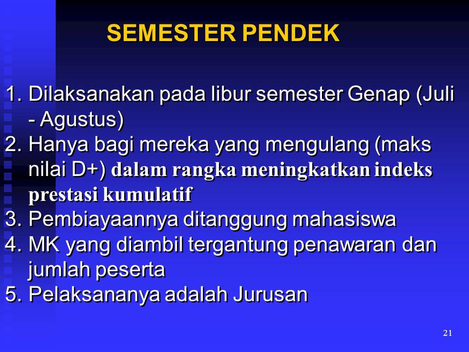SEMESTER PENDEK Dilaksanakan pada libur semester Genap (Juli - Agustus)