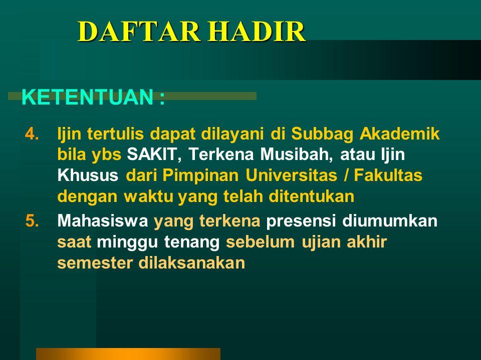 DAFTAR HADIR KETENTUAN :