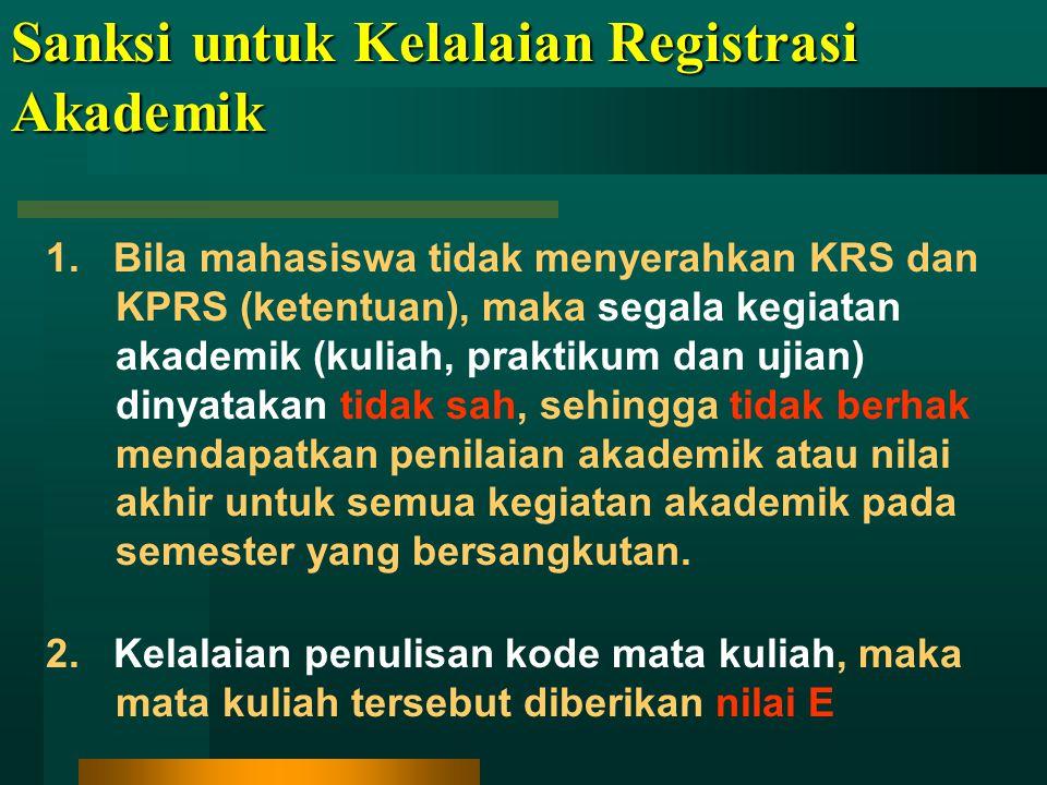 Sanksi untuk Kelalaian Registrasi Akademik