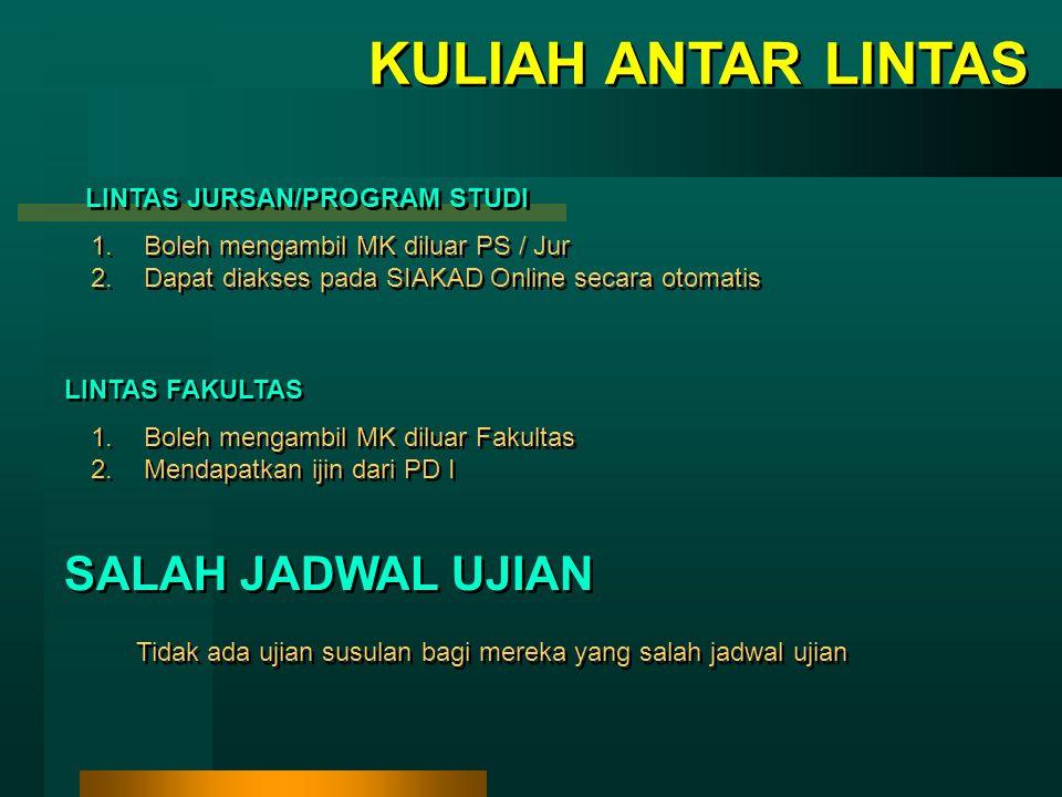 KULIAH ANTAR LINTAS SALAH JADWAL UJIAN LINTAS JURSAN/PROGRAM STUDI