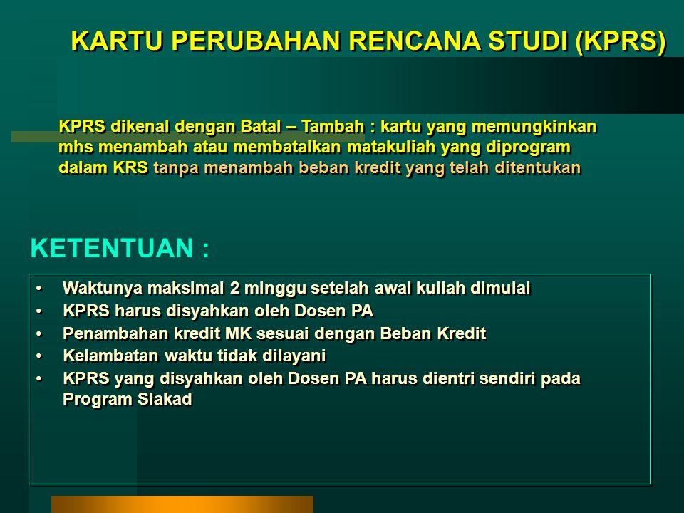 KARTU PERUBAHAN RENCANA STUDI (KPRS)