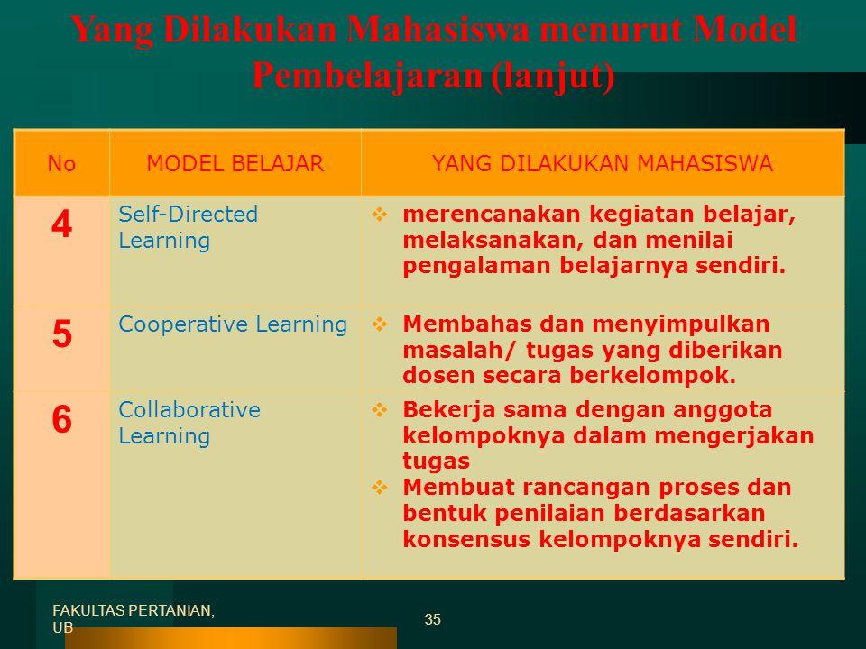 Yang Dilakukan Mahasiswa menurut Model Pembelajaran (lanjut)