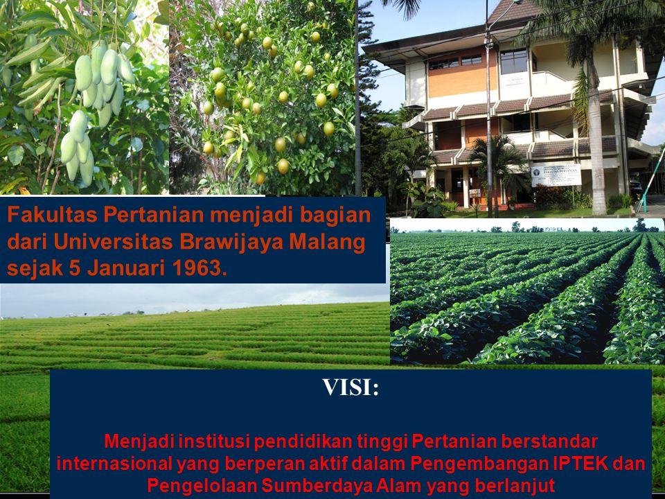 FAKULTAS PERTANIAN, UB Fakultas Pertanian menjadi bagian dari Universitas Brawijaya Malang sejak 5 Januari 1963.