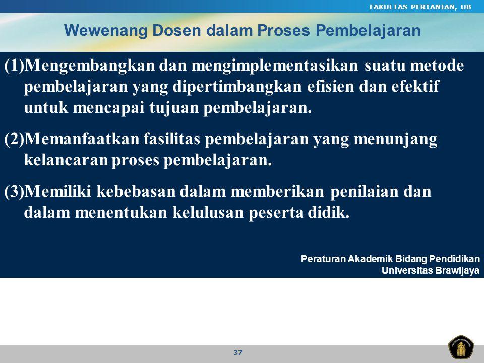 FAKULTAS PERTANIAN, UB Wewenang Dosen dalam Proses Pembelajaran.