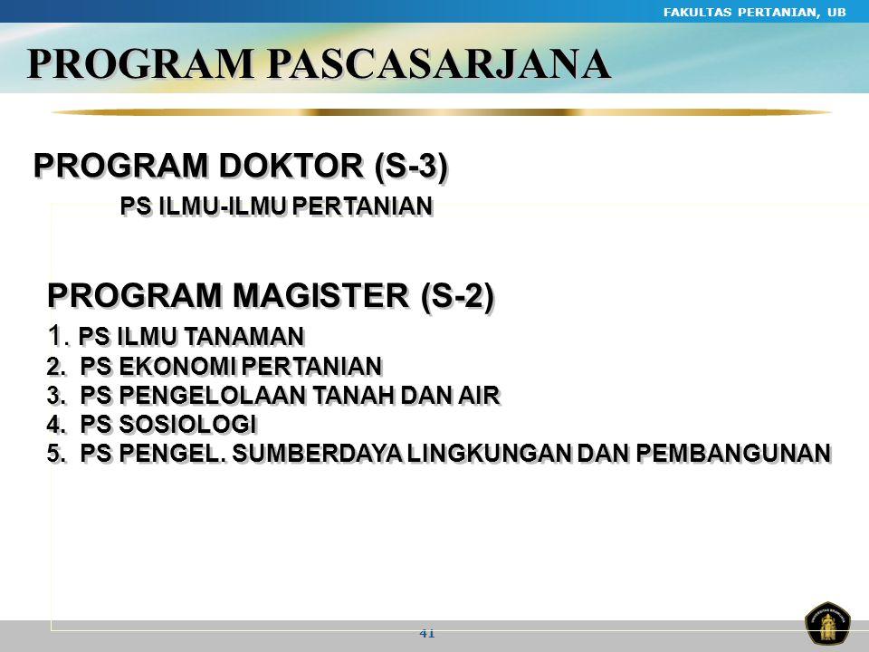 PROGRAM PASCASARJANA PROGRAM DOKTOR (S-3) PROGRAM MAGISTER (S-2)