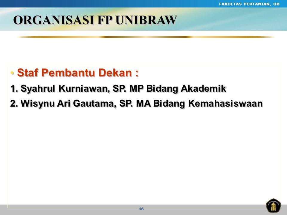 ORGANISASI FP UNIBRAW Staf Pembantu Dekan :