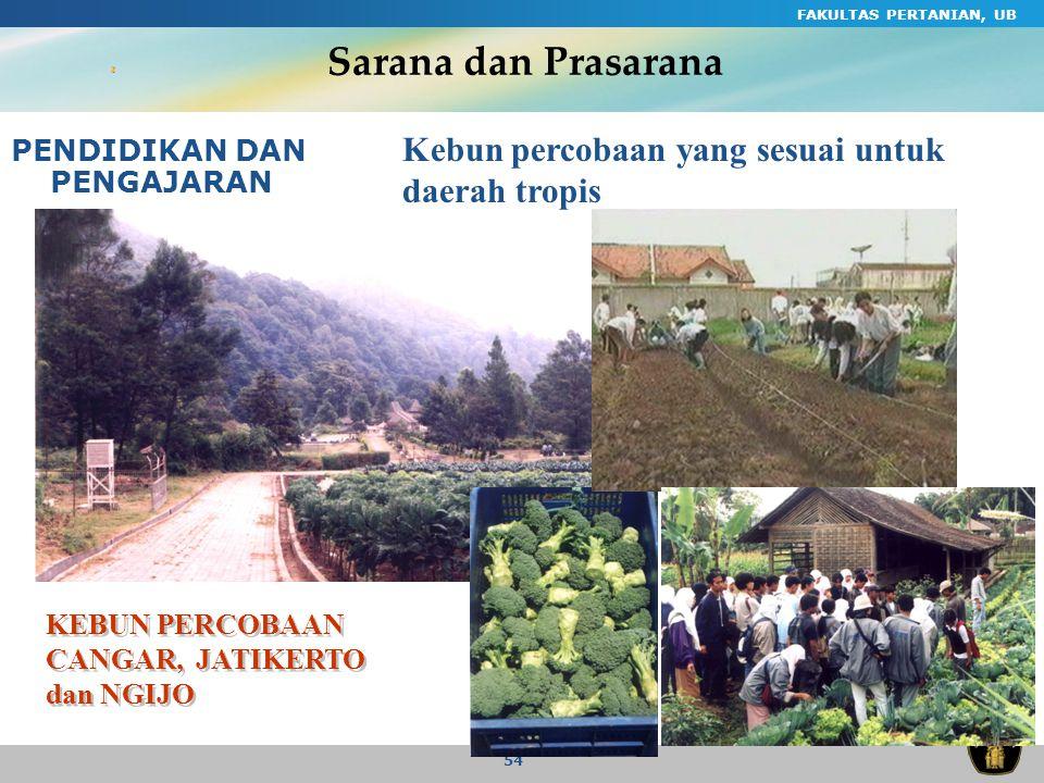 Sarana dan Prasarana Kebun percobaan yang sesuai untuk daerah tropis